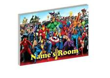 MARVEL SUPERHEROES PERSONALISED WOODEN DOOR PLAQUE