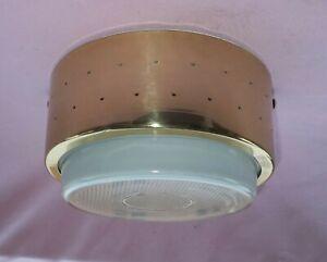 """Vintage Mid Century Modern John C. Virden Atomic Brass Ceiling Light Lamp 8 1/2"""""""