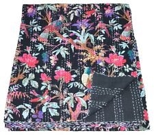 Indian Handmade Vintage Queen Bird Print Kantha Quilt Bedspread Throw Blanket