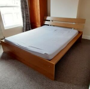 VGC IKEA Hopen EU King Bed Frame Wood (mattress available for free)