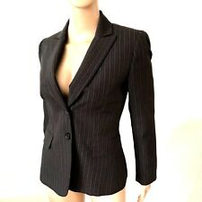 Tahara Career Black Lined Striped Fitted Blazer Jacket Large Button Front Padded