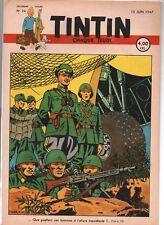 TINTIN n°24 du 12 juin 1947 - édition belge -  couverture de E.P. JACOBS