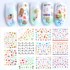 3D Nail Art Sticker Summer Beach Palm Tree Seashell Mermaid Star Fish Decals DIY