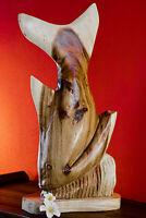 Estatua Pescado Escultura Perca Animal Marino Expositor Madera Maciza Tallado en