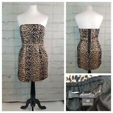Forever 21 Jr M Black Beige Brown Leopard Print Strapless Mini Dress Pockets