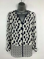 WOMENS JASPER CONRAN BLUE NAVY & WHITE PATTERN SHIRT BLOUSE CASUAL TOP  UK 10