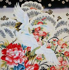JAPANESE RED ROOSTER SAKURA LARGE CRANES & PEONY COTTON PNL CRAFT QUILT FABRIC