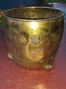 Antique Brass Lionhead Clawfoot Planter Hand Made in England Marked