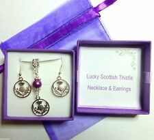 Lucky Scottish Thistle Celtic Necklace & Earrings Silver Plated Faux Pearl & Box