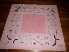 Vintage California Hand prints modern fish tablecloth~abstract black on pink