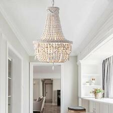 Chandelier Pendant Lights Ceiling Lamp Fixtures Antique White Wood Beaded Basket