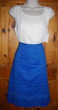 Monsoon cobalt blue cotton A-line skirt w broderie anglais - UK 10 BNWT
