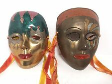 2 Brass Masks Masquerade Theater Hand Painted Home Wall Decor