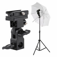 Swivel Triple Hot Shoe Mount Adapter Flash Light Stand Umbrella Holder B Bracket