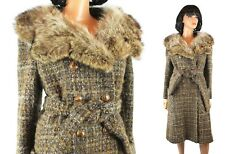 Vintage Trench Coat Sz M 70s Plaid Wool Raccoon Fur Collar Princess Jacket