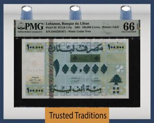 TT PK 83 2001 LEBANON BANQUE DU LIBAN 100000 LIVRES PMG 66 EPQ GEM UNCIRCULATED