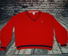 Vtg Izod Lacoste Sweater V Neck Orlon Acrylic Red Blue Made in USA Mens L Large