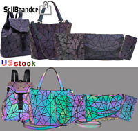 women luminous geometric handbag shoulder bag set folding Totes bag purse wallet