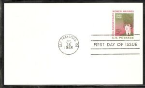 US SC # UX56 Women Marines .Postal Card FDC. Ready For Cachet.