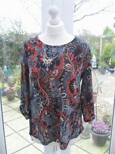 Antthony Designs Printed Curved Hem Hi-Lo Tunic Navy Paisley Size XS BNWT