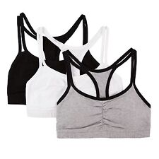 Fruit of the Loom Women's Cotton Pullover Sport Bra 3pcs Grey Black/White 34