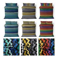 Reversible Duvet Covers Chevron Stripes Modern Bright Printed Quilt Bedding Sets