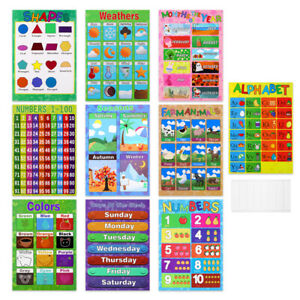 10pcs Educational Wall Chart Posters Math Learning Number Alphabet Teaching Kids