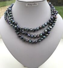 Peacock Triple Row Real Freshwater Pearl Necklace, Solid Sterling Silver, Actual