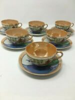 Set of 6 Made in Japan Lusterware Cups and Saucers Hand Painted Pagoda Birds