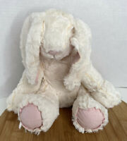 Pier 1 Imports Bunny Rabbit Plush Sewn Patched White Pink Stuffed Animal 11""