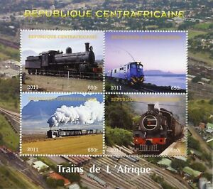 Central African Rep 2011 CTO African Trains Steam Engines 4v M/S Rail Stamps