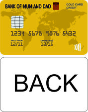BANK OF MUM AND DAD GOLD CREDIT CARD, funny kids home, house,  decal sticker