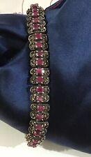 "Oval Red Ruby  Marcasite 925 Sterling Silver Bracelet 7.5"" 22.3 Gram"