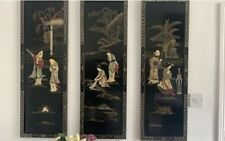 More details for vintage chinese black lacquer mother pearl x 4 wall panels