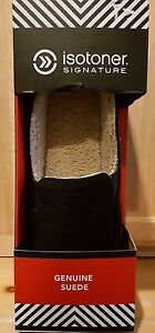 Isotoner A9B926 Black Genuine Suede Tommy Closed Back Sherpa Lined Slippers