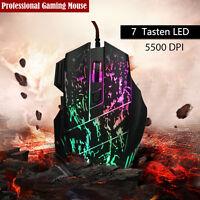 5500 DPI LED Farbewechsel 7 Tasten Gaming Maus USB Optisch Gamer Mouse NEUE