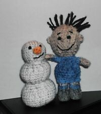 "Handmade Crocheted Amigurumi Peanuts Pigpen and his  Snowman ""Messy"""