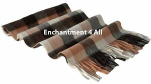 "100% 2-PLY PURE CASHMERE 70""x11"" MEN NECK CHECK SCARF MUFFLER, BLACK/CAMEL/GRAY"