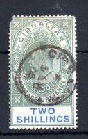 Gibraltar KEVII 1905 2/- fine CDS used (corner fault) SG#62 WS13680