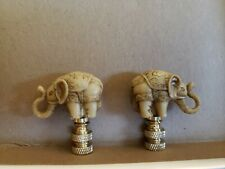Pair of Vintage Resin Elephant Lamp Finials Brass Hardware