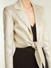 OSMAN Bette tie-waist lamé jacket Size 10 Gold long sleeve US 6 RRP £870