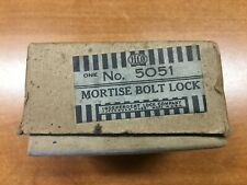 NOS Vintage Cast Iron Mortise 5051 Bolt Lock in Origional Box