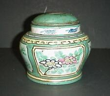 ANTIQUE ORIENTAL CHINESE GINGER JAR & LID RED POTTERY HAND PAINTED