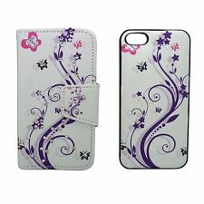 CASE FOR APPLE IPHONE 4 TWO IN ONE WALLET HARD BACK PURPLE FLOWER PINK BUTTERFLY