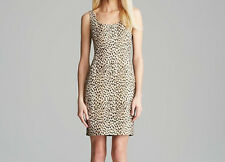 Diane Von Furstenberg Arianna Combo Dress Leopard Caramel Pearl Black 0