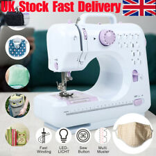 12 Stitch Electric Portable Mini Sewing Machine Overlock 2 Speed Foot Pedal UK