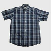 Mens Vintage Lacoste Short Sleeve Check Shirt Medium/Large Blue