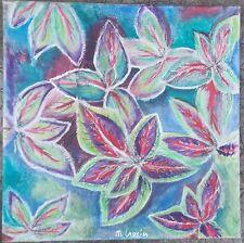 Peinture sur toile technique mixte Coléus peinture collage signé M.Gravier certi