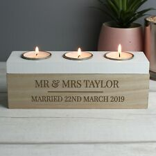 Personalised Message Wedding Wooden Triple Tea Light Candle Holder New Home Gift