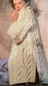 "Ladies Aran Long Cardigan Coat 34""-42"" Knitting Pattern  L37"